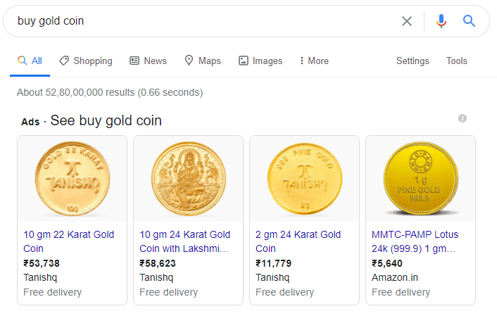 Google Shopping Ads - Gold coin