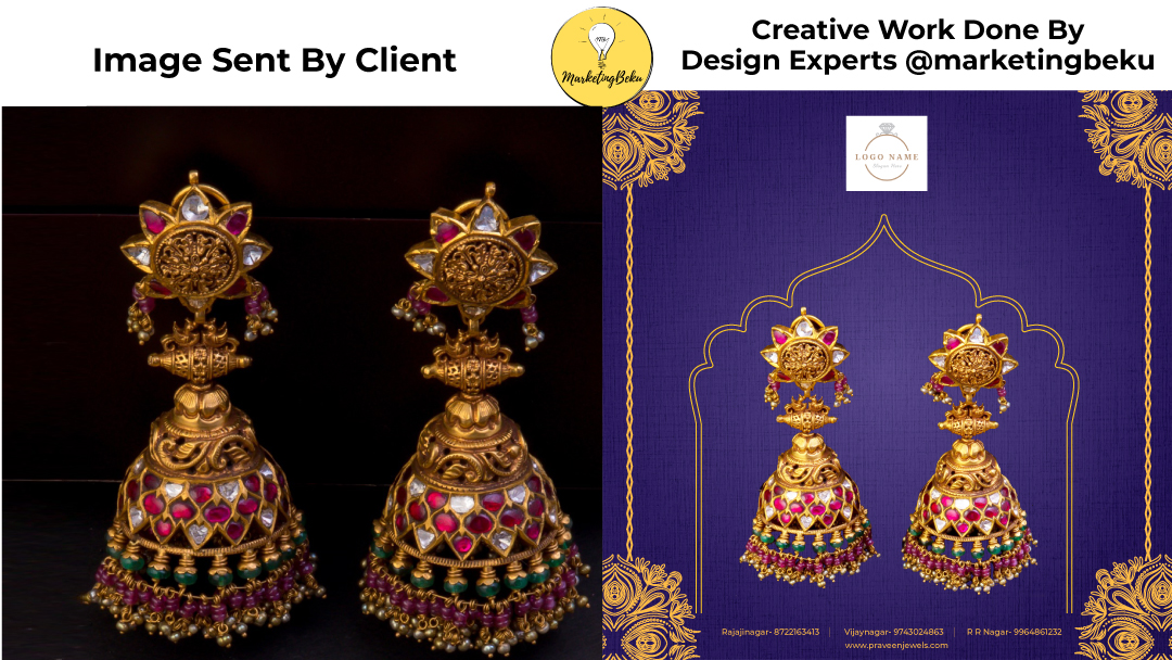 Jewellery creative before and after