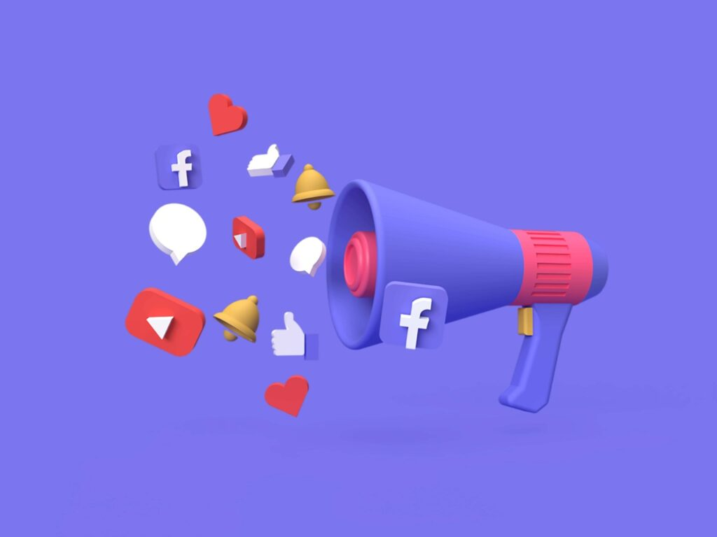 abstract social media icons popping out of a loud speaker